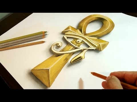 Drawing 3D Art, Egyptian Golden Ankh/Horus - How to draw