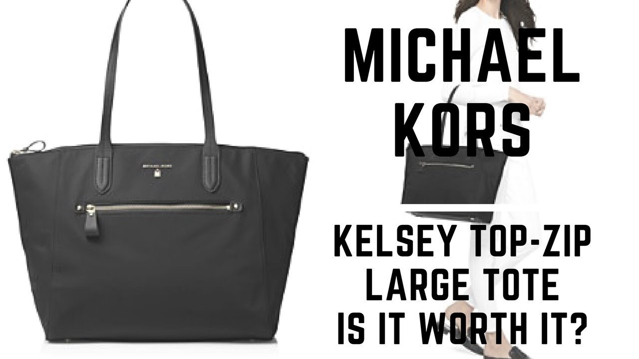 5bf38a1e8a540 Michael Kors Kelsey Large Top-Zip Tote Review