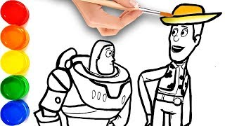 Toy Story 4 Woody & Buzz Lightyear Drawing and Coloring for Kids