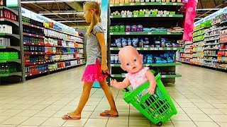 Funny Baby with Baby Born Doll Doing Shopping Supermarket Song