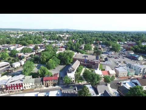 Frederick, Maryland. Drone views of Mount Olivet Cemetery and Downtown
