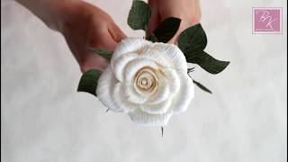 Мастер класс. Роза из гофрированной бумаги