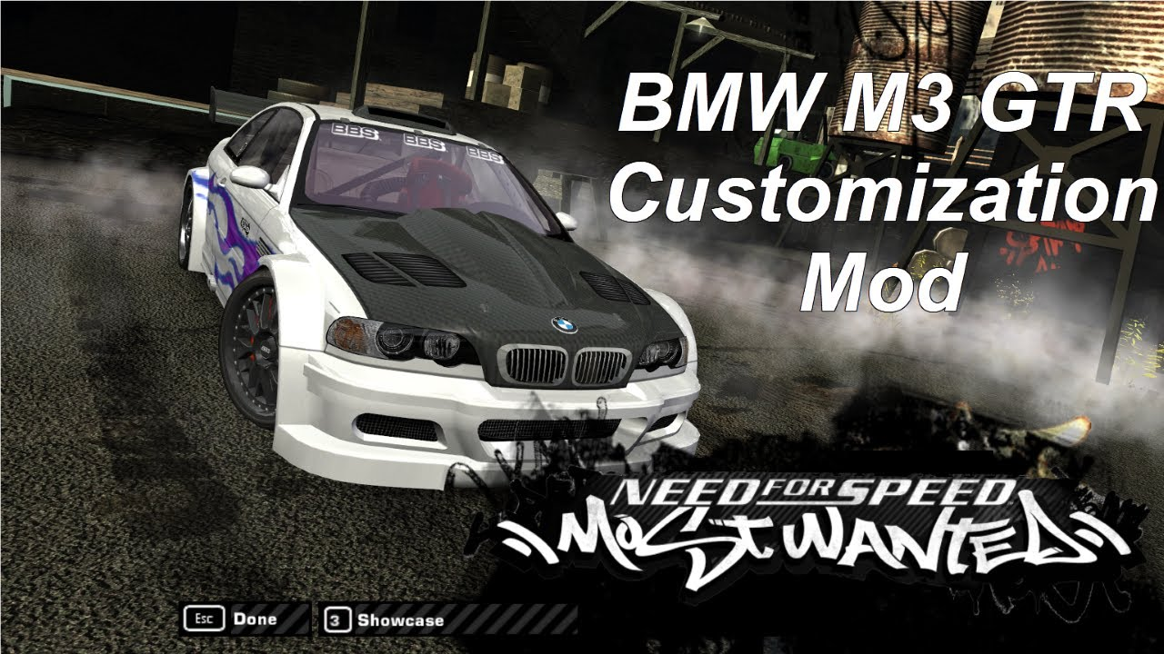 NFS Most Wanted Mod: Fully Customizable BMW M3 GTR Race ...