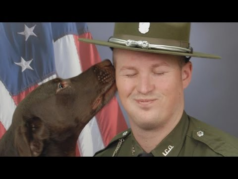 K9 Officer Licks Partner In Their Official Department Photo