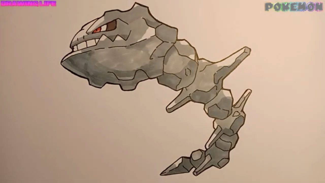 cách vẽ Steelix pokemon song hệ rắn đá-draw pokemon