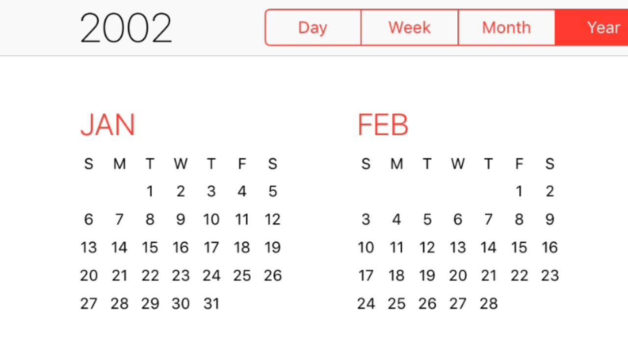2002 Calendar Youtube