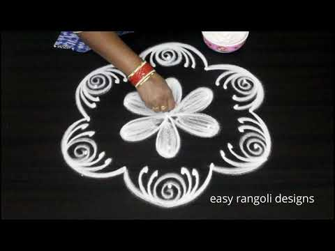 amazing flower kolam with 5 dots || easy rangoli designs || latest beautiful muggulu