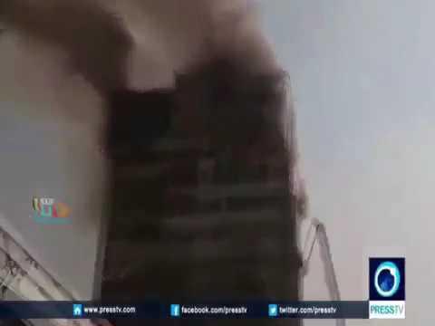 انهيار برج تجاري في ايران