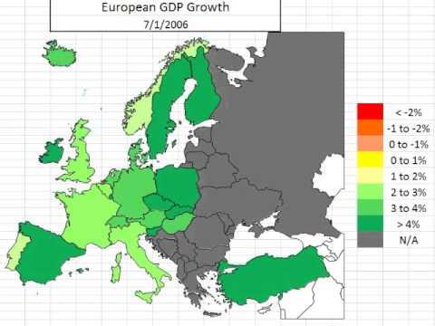 Map: Europe GDP 3rd Quarter 2013