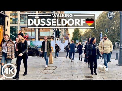🇩🇪 DÜSSELDORF, Germany - City Walk in October 2021 - 4K HDR