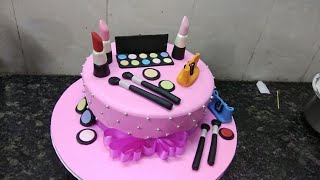 How to make makeup cake Birthday cake making by Cool cake master
