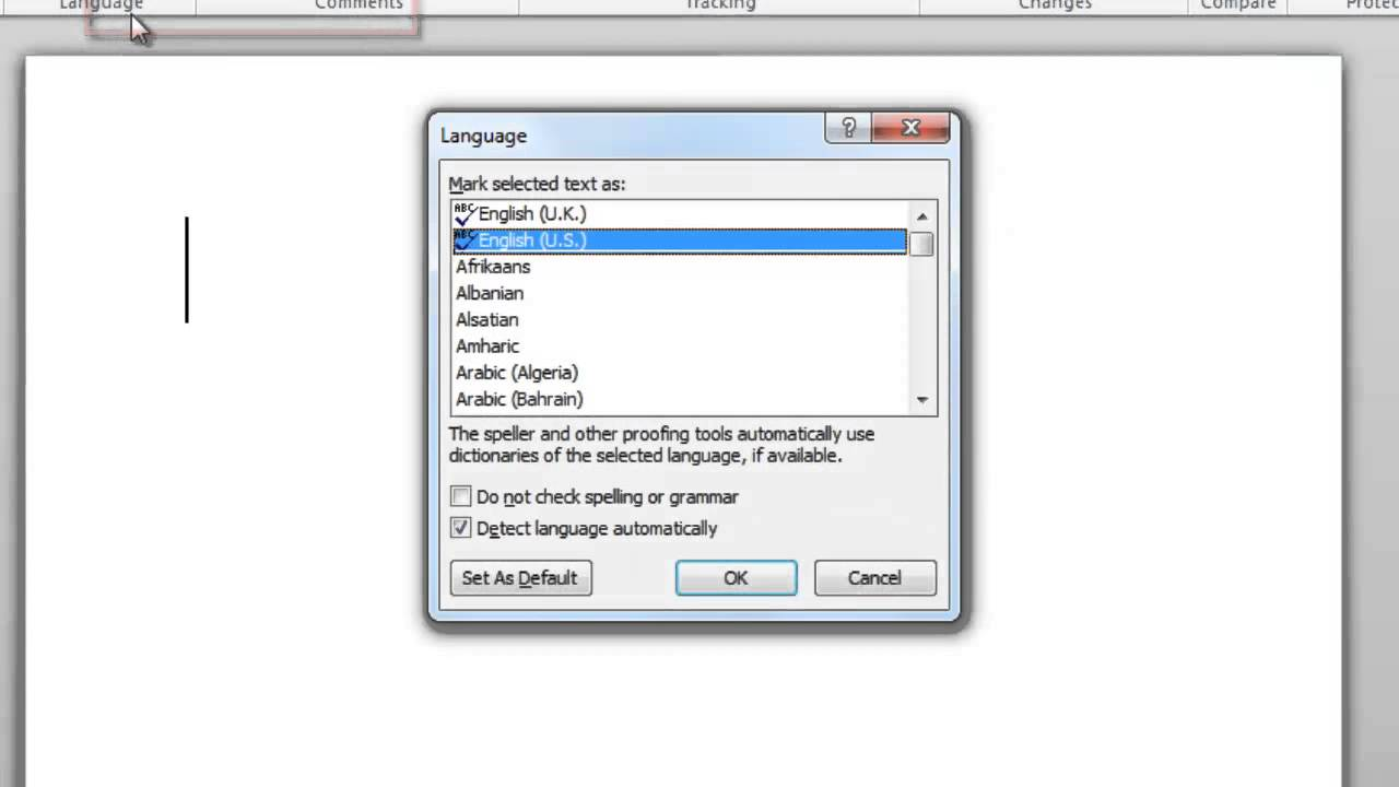 set default language word 2010 mac
