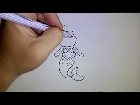 สอนวาดรูป การ์ตูน เจ้าหญิงเงือก แอเรียล เงือกน้อยผจญภัย