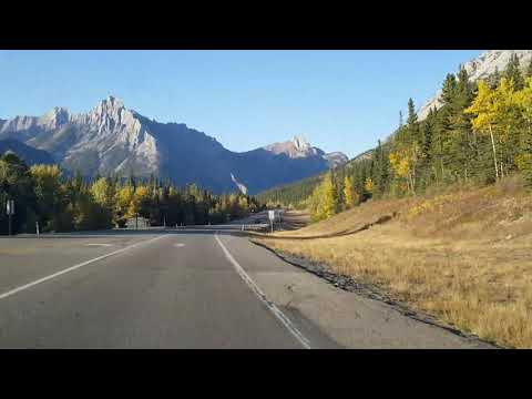 Extremely beautiful Rocky mountain drive fall time in Alberta canada