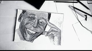 The Greatest Player Of All Time ♥ PELE Pencil Drawing ♥