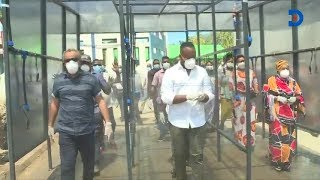 Governor, Ali Hassan Joho launches a sanitizing spray booth prototype in Mombasa