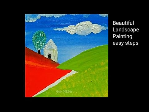 Landscape Painting Demo/ Acrylic painting for beginners/Art Therapy #1