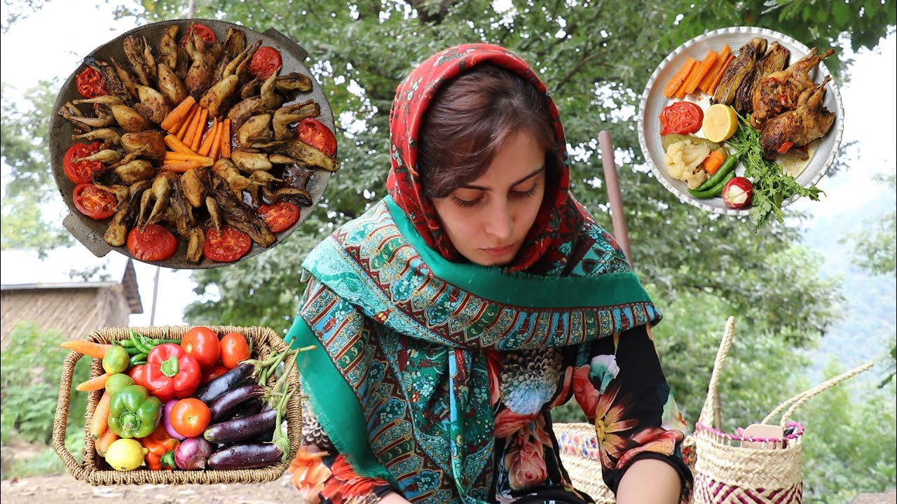 Download IRAN Village Style Delicious Fried Quail with Fresh Vegetables ♧ Cooking on Sadj Vlog ♧بلدرچین