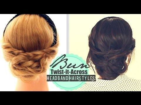 CUTE BUN TWISTED UPDO FOR MEDIUM LONG HAIR TUTORIAL