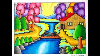 CARA GRADASI WARNA EP 250 DRAWING EASY LANDSCAPE WITH OILPASTEL FABERCASTELL