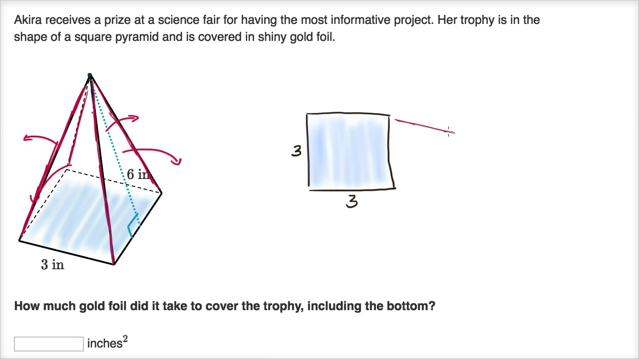 Surface area word problem example (video)   Khan Academy [ 720 x 1280 Pixel ]