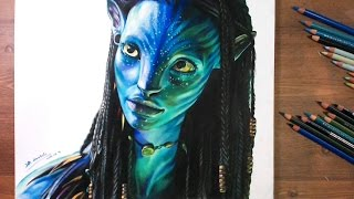 Neytiri(Zoe Saldana), Avatar 2009 - Speed drawing | drawholic