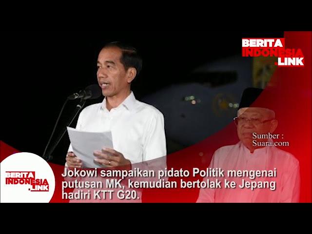 Jokowi sampaikan pidato politik hasil putusan MK, kemudian bertolak ke Jepang hadiri KTTG20