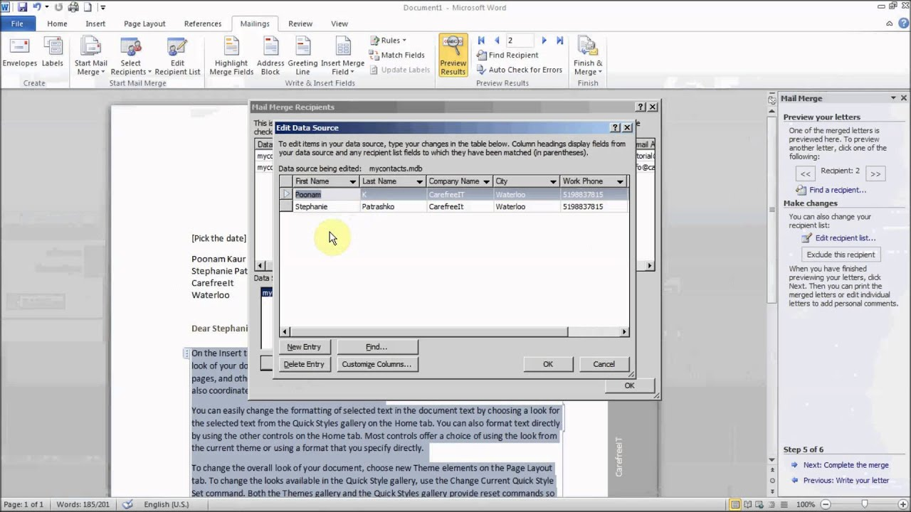 How to use Mail Merge to create letters in Microsoft Word - YouTube