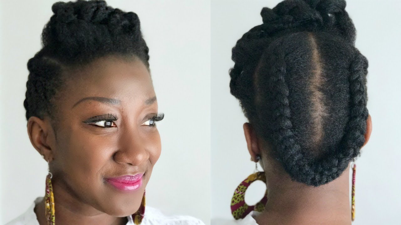 Quick Easy Natural Hair Style Twisted Braid Updo Thin Fine