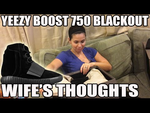 Wife's First Impression of Yeezy Boost 750 'Blackout' (Sneaker Unboxing)