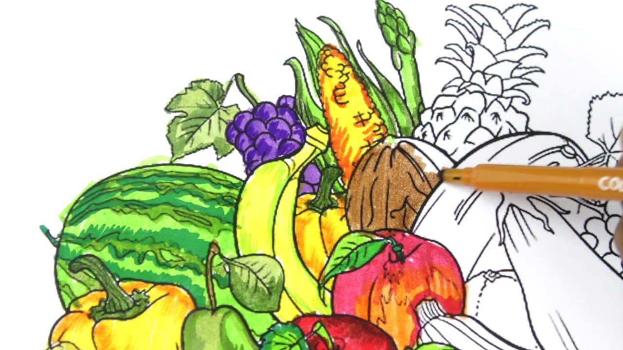 How To Draw Fruits and Vegetables and colouring Dresses for Kids ...