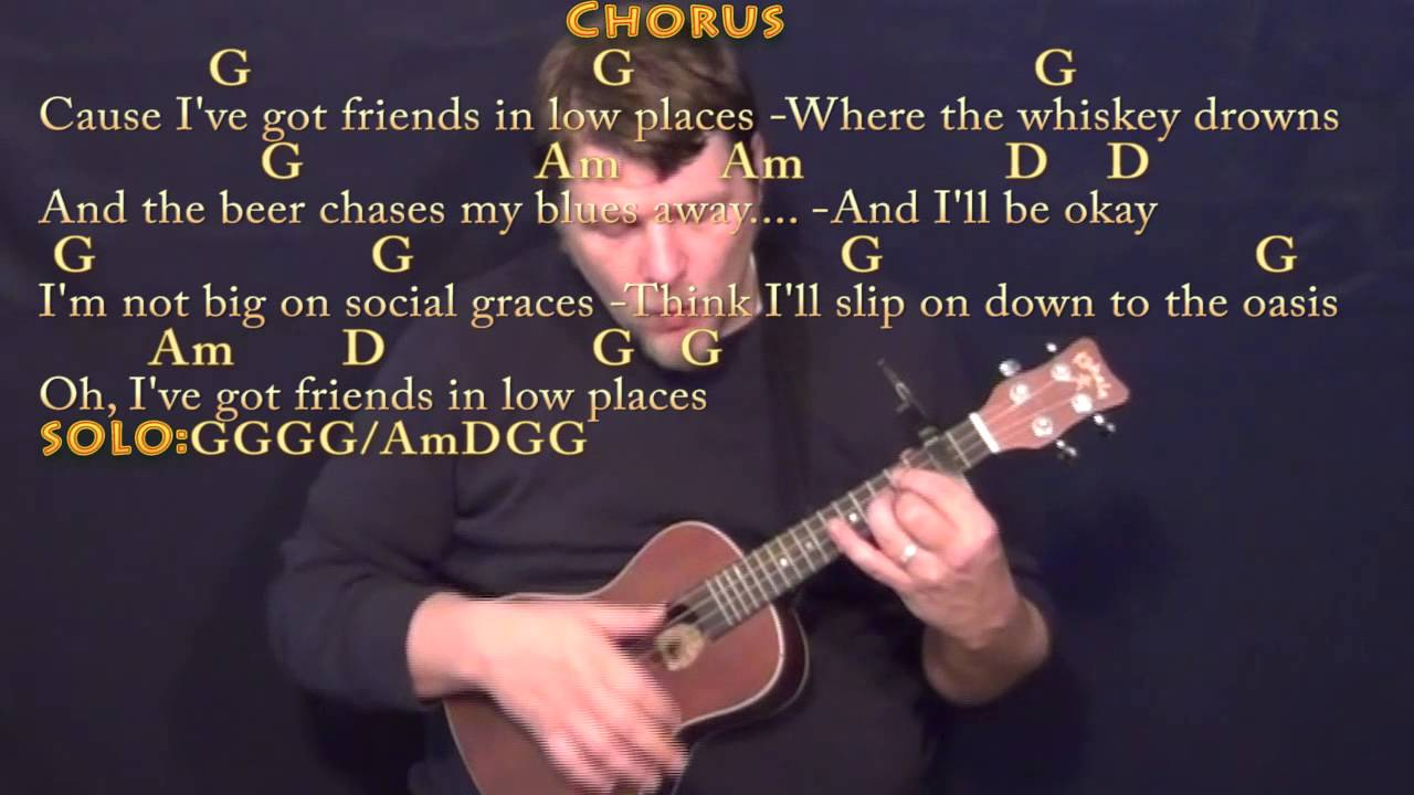 Friends In Low Places Ukulele Cover Lesson With Chordslyrics