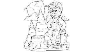 как нарисовать дровосека,how to draw a woodcutter,cómo dibujar un leñador,taglialegna