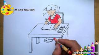 Vẽ tranh Bé học bài/How to Draw Baby are learning