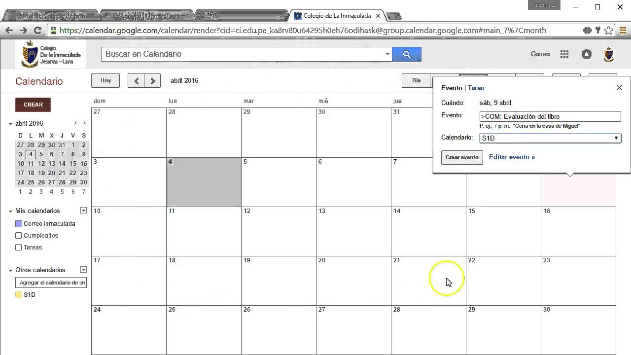 Calendario y agenda virtual - YouTube