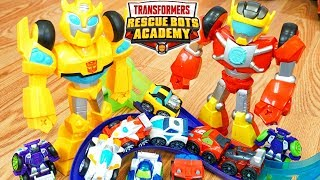 Transformers Rescue Bots Academy Hot Shot tells Jokes to Bumblebee Flip Racers Race Track