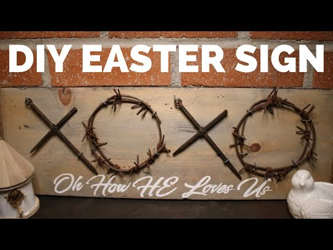 DIY Easter Themed Cross & Crown Sign