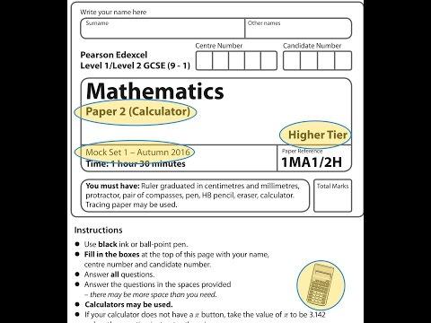 Mock Set 1 (9-1) 2017 Paper 2 Higher Calculator