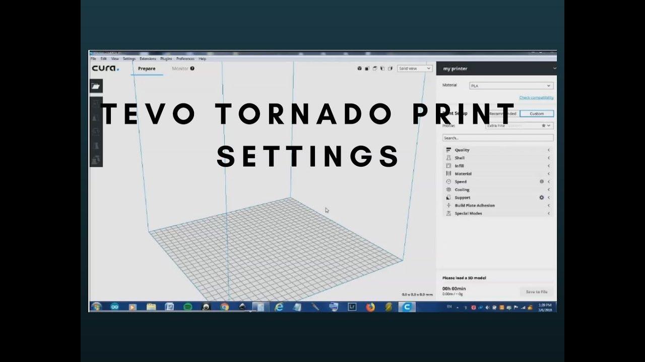 Tevo Tornado print Settings
