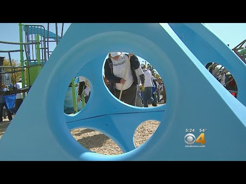 Volunteers Team Up To Create New Playground At Elementary School