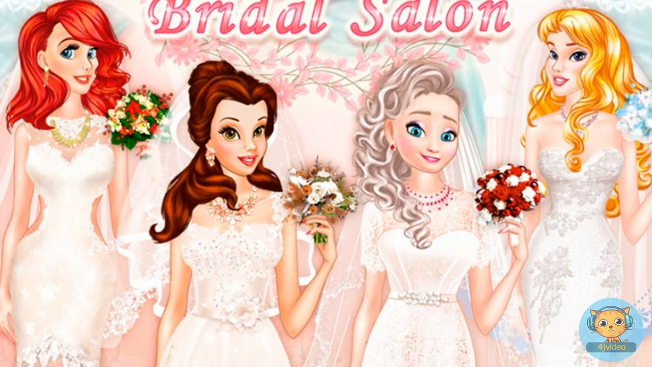 Princesses Bridal Salon Disney Frozen Elsa Belle Ariel Aurora Wedding Dresses
