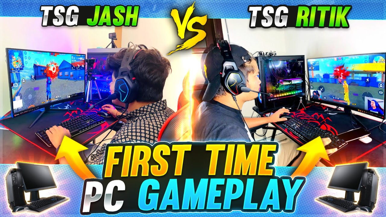 Ritik & Jash Playing Free Fire In Emulator(PC) For The First Time || One Vs One - Two Side Gamers