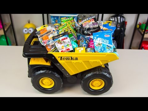 HUGE Tonka Truck Surprise Toys Bucket Toy Truck Surprise Egg Trucks Toys for Boys Kinder Playtime - 동영상
