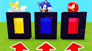 Minecraft PE  DO NOT CHOOSE THE WRONG PORTAL (Sonic Tails Knuckles)