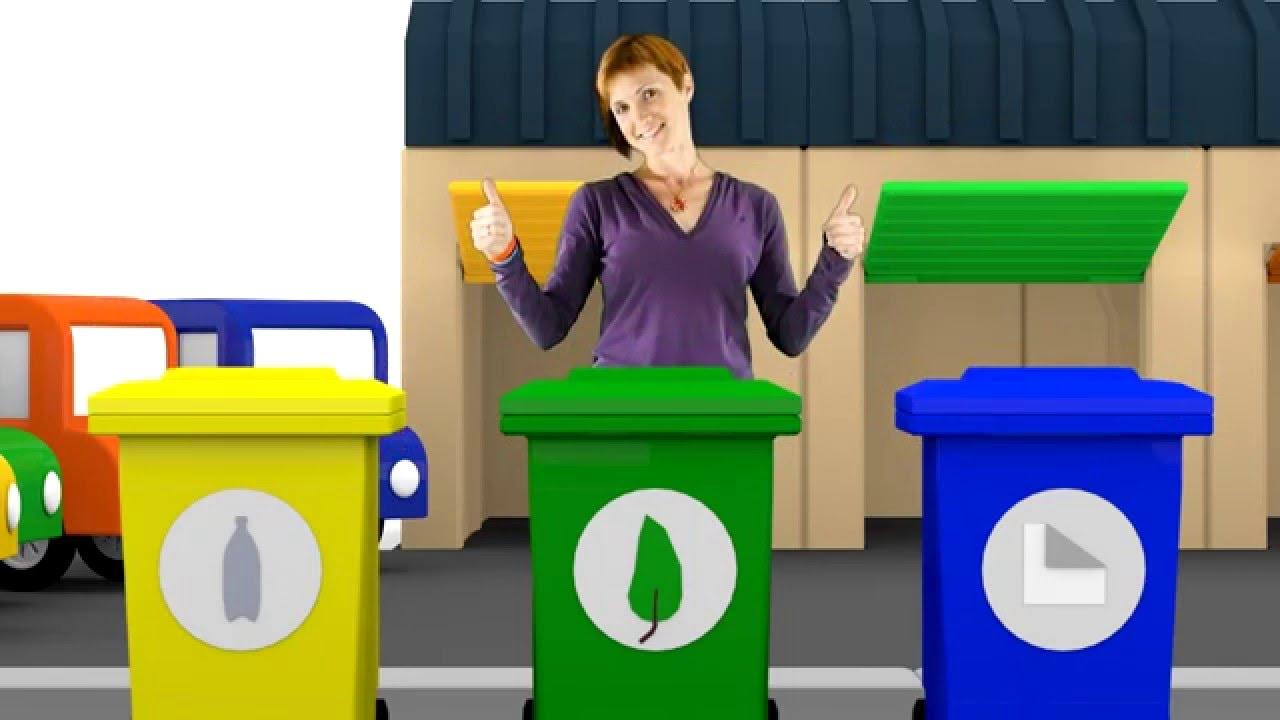 quatre voitures color es les poubelles dessin anim s pour enfants youtube. Black Bedroom Furniture Sets. Home Design Ideas
