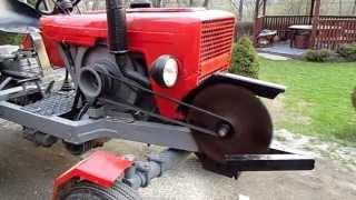 Ciągnik SAM Traktor z piłą do cięcia opału Osielec samoróbka