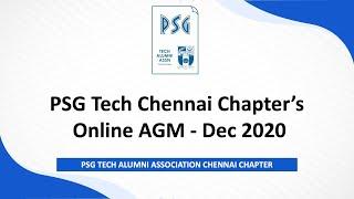 PSG Tech Alumni Association - Chennai Chapter Online AGM Dt. 12th Dec 2020