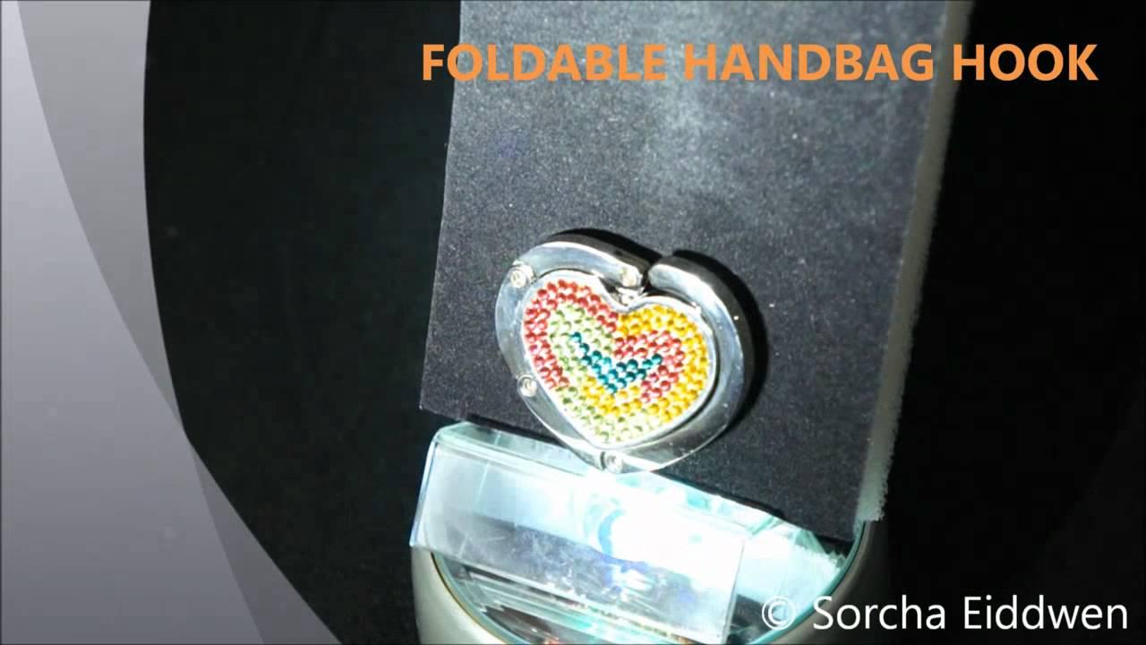 43215f81dd Swarovski Foldable Handbag Hook - YouTube