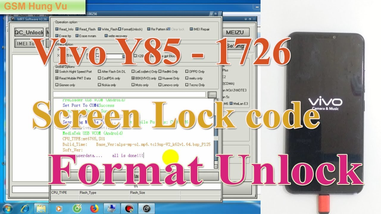 Vivo Y85 Screen lock Code/Password Formart Bypass ok by MRT  by GSM Hung Vu
