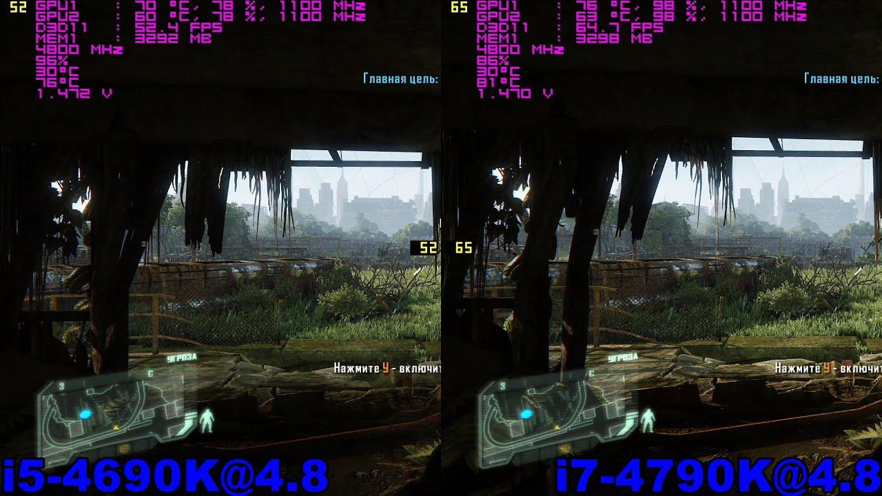 i5 4690K@4.8 vs i7 4790K@4,8 (CF 280x) in 6 topical СF-games